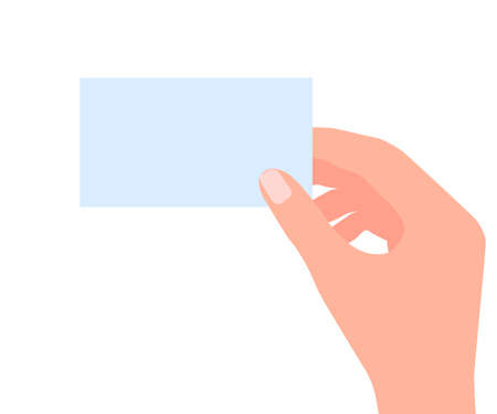 Blank business card in human hand. Empty credit card template for contact, business advertisement. Paper frame for memo, notice, presentation. Vector illustration