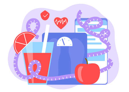Healthy balanced diet monitoring plan. Mobile application for calorie and weight control. Healthy nutrition. Equipment scales, tape measure and food for weight loss. Vector flat illustration