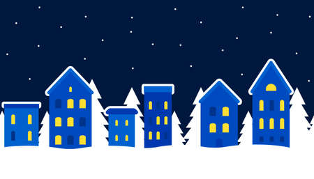 Cityscape of winter city. Christmas background. Fairy tale winter landscape. Seamless border. Small lodges and fir trees. Vector