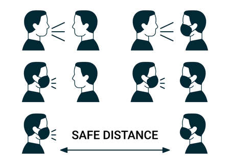 Icon people communicate in face mask, safe distance. Communication measure sign, risk of infection virus. People maintain social distancing to prevent spread of virus, flu, coronavirus. Vector