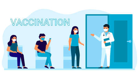 Vaccination of people for prevention, immunization and treatment against viral infection. Queue of men and women for medical injection, flu shot, virus. Vaccination for safe health. Vector Illusztráció