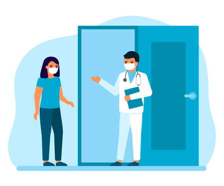 Consultation of woman patient at entrance to office, advice, doctors supervision. Appointment for medical injection, flu shots, virus vaccinations. Prevention, treatment to maintain health. Vector