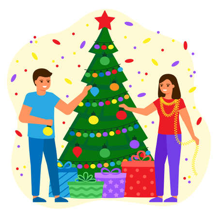 People man and woman decorate green spruce with balls and lightbulbs. Young couple waiting for holiday with gifts. Christmas and New Years holiday. Vector flat illustration  イラスト・ベクター素材