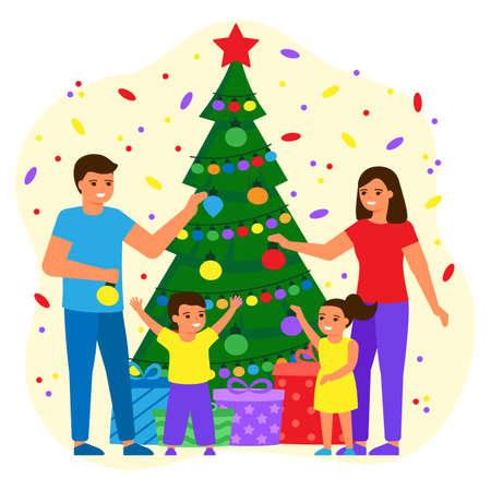 Family father, mother and children decorate green fir tree at home with balls and lightbulbs. Young couple, boy and girl are waiting for holiday with gifts. Christmas, New Years holiday. Vector Illusztráció