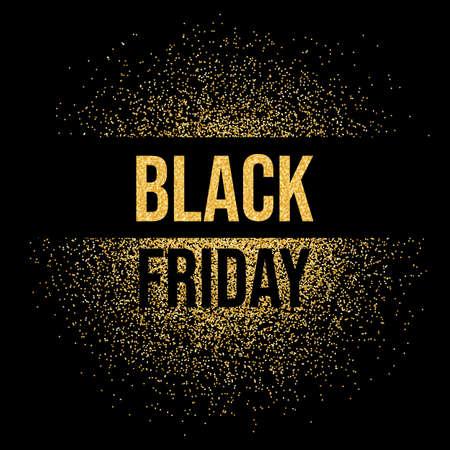Black Friday sale inscription text gold glitter background. Black Friday shine gold sparkles. Vector on black background