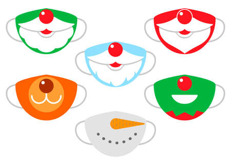 Protection individual masks mouth of santa claus, deer, snowman and elf. Face masks for Christmas, New Year. Vector
