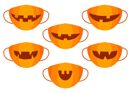 Protection individual masks mouth pumpkins. Face masks for halloween. Vector  イラスト・ベクター素材