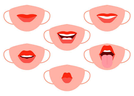 Protective individual masks with mouth image. Human mouth facial expressions mask. Red female lips emotions. Womans smile, kiss, tongue sticking out. Vector