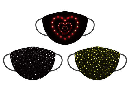 Protection individual decorative masks. Pattern shine confetty, glitter, blur circle on black. Face masks for Christmas, New Year. Vector illustration  イラスト・ベクター素材