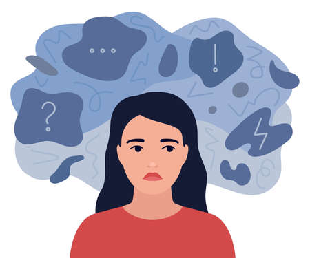 Looming sad, anxious thoughts of girl. Pensive woman is surrounded by sad reflections. Anxiety, depression, stress. Mental disorder and chaos in mind. Vector flat illustration