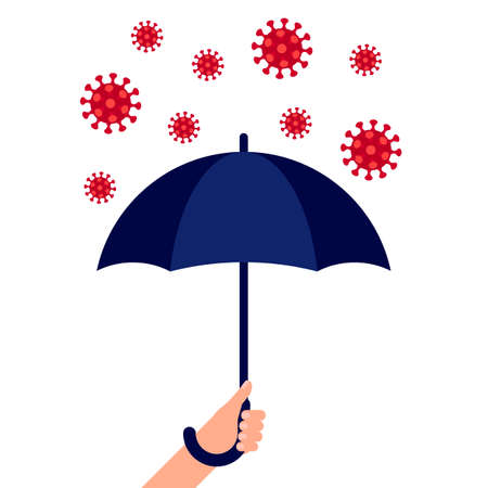 Hand holding an umbrella against coronavirus. Help, protection from virus. Vector  イラスト・ベクター素材