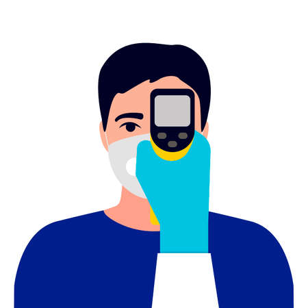 Check control body temperature. Hand with gloves holding distant thermometer. Man with protective respiratory mask on face. Coronavirus prevention. Vector flat  イラスト・ベクター素材