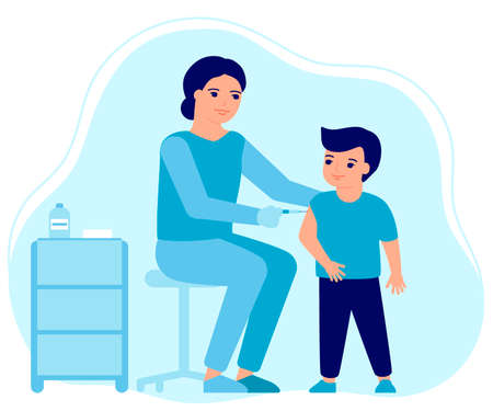 Child flu vaccine injections, kid vaccination. Doctor help immune system health. Prevention and treatment, flu shots, virus vaccinations. Health care, prevention and immunization in hospital. Vector
