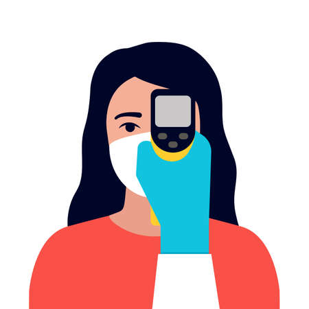Check control body temperature. Hand with gloves holding distant thermometer. Woman with protective respiratory mask on face. Coronavirus prevention. Vector flat