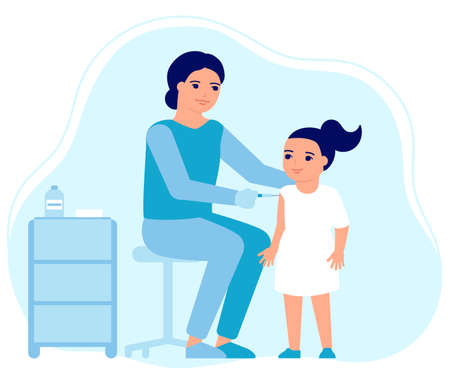 Child girl flu vaccine injections, kid vaccination. Doctor help immune system health. Prevention, treatment, flu shots, virus vaccinations. Health care, prevention and immunization in hospital. Vector  イラスト・ベクター素材