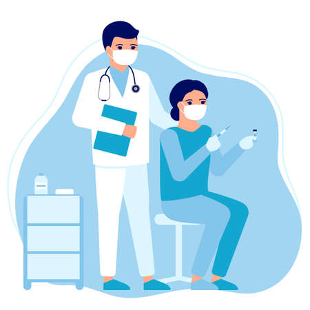 Doctor and nurse advice. Vaccination of people for prevention, immunization and treatment against viral infection. Medical injection, flu shot, virus. Vaccination for safe health.Vector illustration