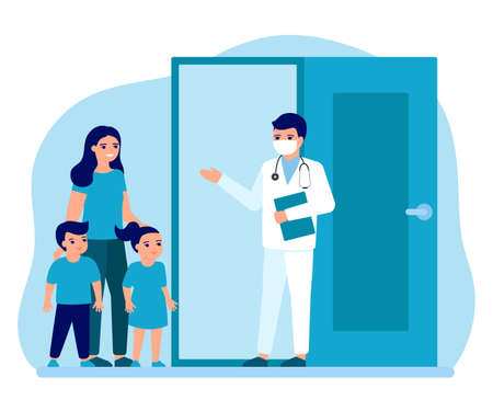 Consultation of woman patient with children at entrance to office doctor. Advice doctor, supervision family. Prevention and treatment mother with kids to maintain health. Vector  イラスト・ベクター素材