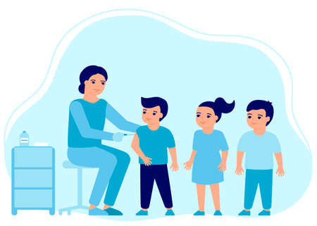 Children flu vaccine injections, kids vaccination. Doctor help immune system health. Prevention and treatment, flu shots, virus vaccinations. Health care, prevention, immunization in hospital. Vector  イラスト・ベクター素材