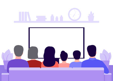 Big family sitting on sofa at home and watching TV news, back view. Seniors, parents and children sit in living room interior. Rest, spending time on isolation and quarantine. Safe health. Vector  イラスト・ベクター素材