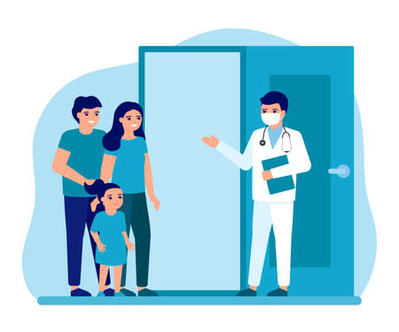 Consultation of family with child at entrance to office doctor. Advice doctor, supervision family, family doctor. Prevention and treatment father, mother and kid to maintain health. Vector