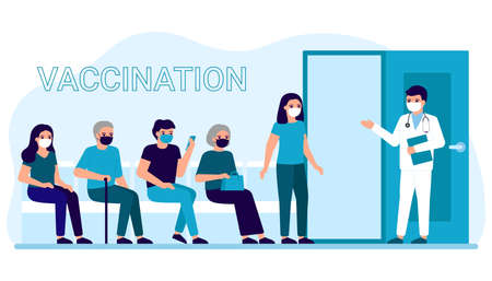 Vaccination of people in clinic for prevention, immunization and treatment against viral infection. Line of adult men and women for medical injection, flu shot. Vaccination for safe health. Vector