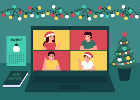 Group people communication online together on Christmas holiday. Decoration fir, lightbulbs desktop and greeting Christmas and New Year. Video call on laptop, virtual meeting friends. Vector