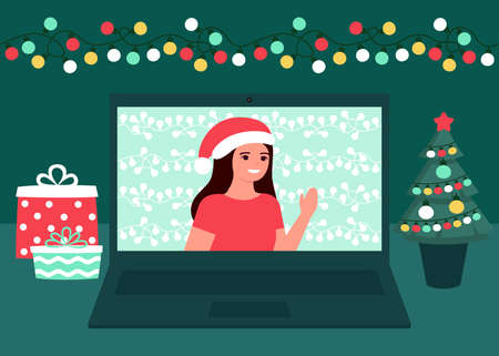 Woman communication online on Christmas holiday. Decoration fir, lightbulbs desktop and greeting Christmas and New Year. Video call on laptop, virtual meeting. Vector  イラスト・ベクター素材