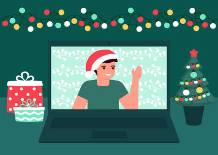 Man communication online on Christmas holiday. Decoration fir, lightbulbs desktop and greeting Christmas and New Year. Video call on laptop, virtual meeting. Vector
