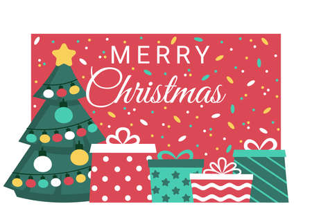 Holiday Marry Christmas with fir and gifts banner. Buying, receiving, giving gifts. Celebration Christmas and New Years holiday. Vector