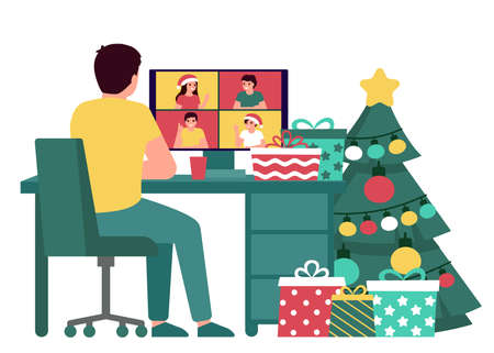 Man communication with group people online on Christmas holiday, back view. Fir tree, gift, desktop and greeting Christmas and New Year. Video call on computer, virtual meeting friends on Xmas. Vector  イラスト・ベクター素材