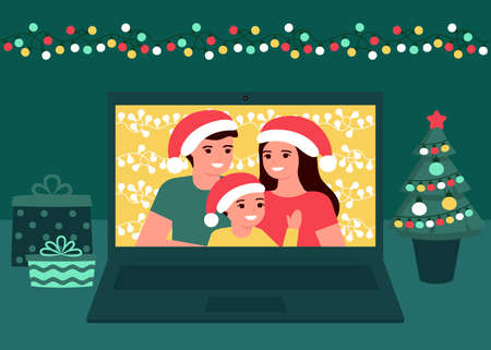Family communication video online on Christmas holiday at home. Father, mother and child daughter greeting Christmas and New Year. Video call on computer, virtual meeting together. Vector  イラスト・ベクター素材