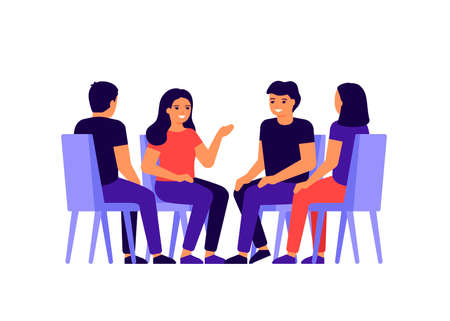 Group of people is sitting in circle, chatting, discussing news, messages. Man and woman in team talk, discuss problems together, exchange opinions. Meeting of working team, friends. Vector flat