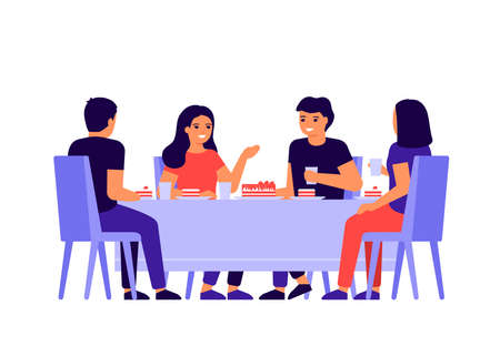Group of young people are sitting together at table, talking and eating. Happy friends celebrate holiday and eat cake. Men and women taste food at home, in restaurant or cafe. Vector illustration