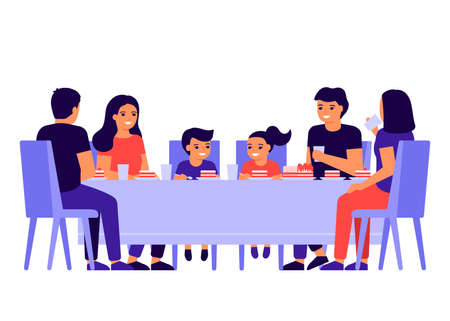 Group of young people and children are sitting together at table, talking and eating. Happy friends celebrate holiday, eat cake. Men, women and kids taste food at home, in restaurant or cafe. Vector