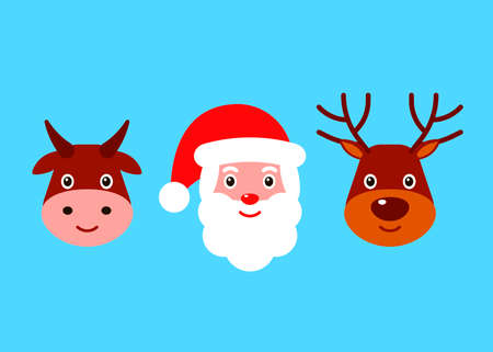 Happy santa claus, deer and bull face. Christmas characters. Vector flat illustration