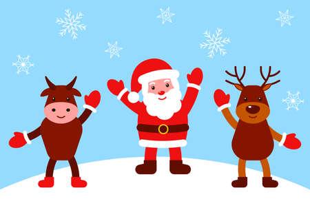 Happy santa claus, deer and bull waving hands. Christmas characters. Vector flat illustration