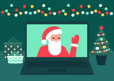 Santa Claus communicate online on Christmas holiday on laptop at home. Decoration fir, lightbulbs desktop and greeting Christmas and New Year. Video call on laptop, virtual meeting. Vector flat