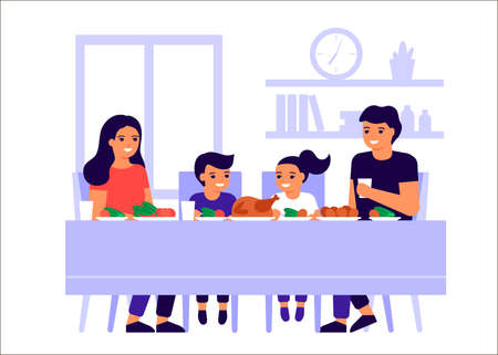 Family father, mother and children are sitting together at table, talking and eating. Happy family celebrate holiday and eat turkey. Men, women and kids taste food at home. Vector flat illustration