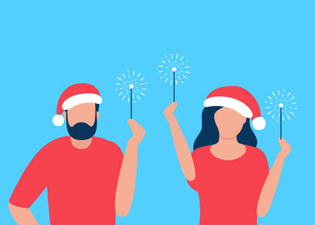 Man and woman are celebrating on Christmas break. Sparklers and Merry Christmas and New Year greetings. Vector illustration  イラスト・ベクター素材