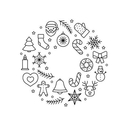 Line icons wreath circle for Christmas and New Year. Editable outline symbol. Vector