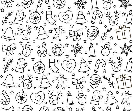 Line icons pattern for Christmas and New Year. Holidays background. Vector