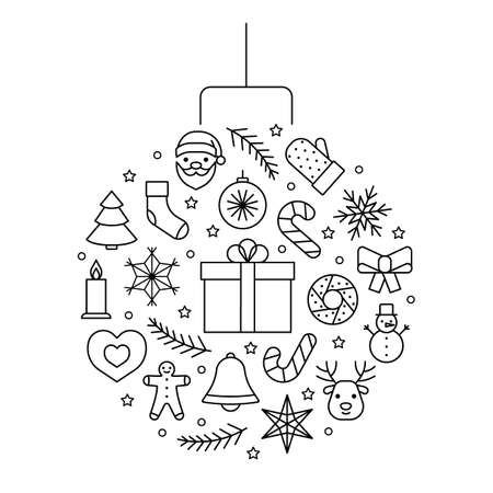 Line icons ball circle for Christmas and New Year. Christmas tree toy. Editable outline symbol. Vector