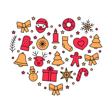 Line icons in heart for Christmas and New Year. Christmas love. Editable outline symbol. Vector