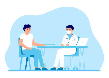 Consultation of man patient in clinic medical office. Medical advice, doctor supervision. Prevention and treatment to maintain health. Vector illustration
