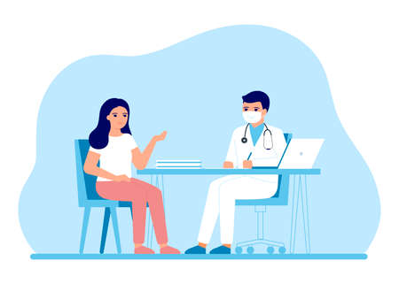 Consultation of woman patient in clinic medical office. Medical advice, doctor supervision. Prevention and treatment to maintain health. Vector illustration