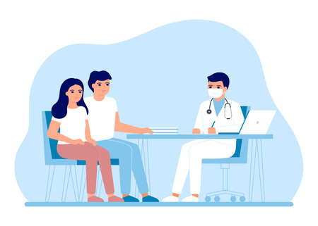 Consultation coeple man and woman in clinic medical office. Medical family advice, doctor supervision. Childlessness, planning pregnancy. Prevention and treatment to maintain health. Vector flat