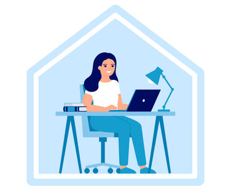Young woman works on laptop at home. Online education, distance learning or working at home concept. Workspace, home office, remote work. Vector flat illustration