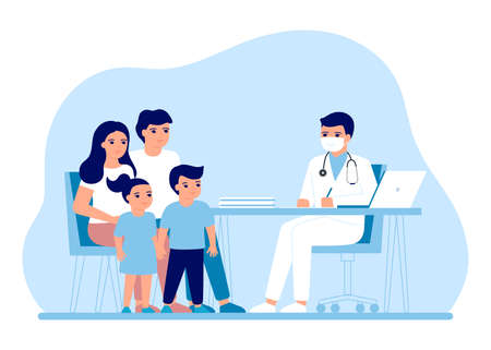 Consultation family parents and children in clinic medical office. Medical family advice, doctor supervision. Prevention and treatment to maintain health. Vector flat