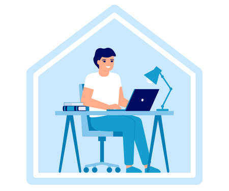 Young man works on laptop at home. Online education, distance learning or working at home concept. Workspace, home office, remote work. Vector flat illustration  イラスト・ベクター素材