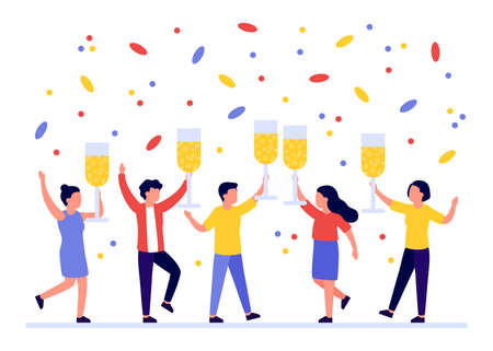 Group of people welcoming holiday with wineglasses in hands. Congratulations on Christmas, New Year, corporate event or birthday. Happy men and women drink champagne while celebrating holiday. Vector